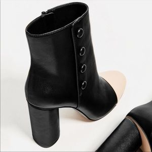 Zara Shoes - Zara leather button ankle boots w contrasting toe